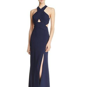 NWOT BCBG Navy Crossover Cutout Gown Size 0